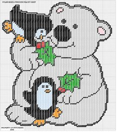 POLAR BEAR & PENGUIN PALS by DAISY*STITCHEMS -- WALL HANGING 1/2
