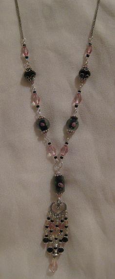 Black and Rose Crystal Chandelier Pendant Necklace