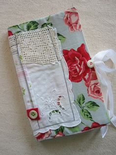 fabric old lace and embroidery - art journal cover