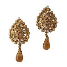 Brown Gold Plated Austrian Diamond Earrings