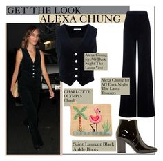 """""""GET THE LOOK ALEXA CHUNG"""" by justadream133 ❤ liked on Polyvore featuring AG Adriano Goldschmied, Yves Saint Laurent and Charlotte Olympia"""