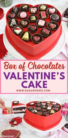 This Box of Chocolates Cake is two treats in one—a chocolate cake filled with strawberry buttercream, plus gourmet chocolates on top! Valentine Desserts, Valentine Chocolate, Valentines Day Desserts, Valentine Cake, Chocolate Box, Chocolate Truffles, Chocolate Covered, Baking Recipes, Dessert Recipes