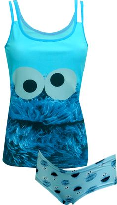 Sesame Street Cookie Monster Camisole and Hipster Set Our favorite furry blue monster is back! These 95% cotton, 5% spandex cam...