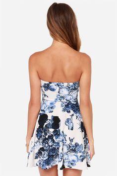 Strapless Dress - Ivory Dress - Floral Print Dress - Sweetheart Dress - $37.00