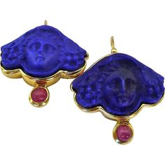 "Vintage Tagliamonte Cameo Relief  ""Medusa"" Earrings - 14K Gold"