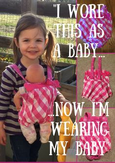 Baby doll carrier tutorial: learn how to make a do-it-yourself baby carrier out of nothing more than a baby jumper and burp cloth. I made this for my daughter.