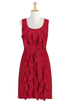 Ruffle cascade dress, $59.95, #eShakti, Customize to your size and style for FREE