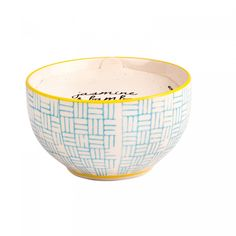 Unwind with the beautiful aromas of Jasmine and Bamboo. With up to 45 hours of burning time, you'll be able to enjoy the soothing scent again and again.   This candles uses soy wax and a cotton wick set in a wonderful hand painted ceramic bowl.       Details:    H: 6 cm x W: 10.6 cm x D:10.6 cm  Soy Wax  Cotton Wick  Hand Painted Ceramic bowl  45 hours burning time  Made in the USA.