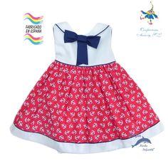 Vestido bebe de PIZPIRETA estampado anclas rojo