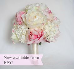 Ivory and pink peony and hydrangea #wedding bouquet, now available from @Kate Said Yes (Kate) www.katesaidyes.etsy.com