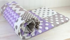 Baby Girl Blanket, Fleece Blanket, Nursery Decor, Patchwork Blanket - Lavender Purple Plum and Gray Chevron via Etsy