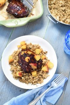 Chicken thighs and peaches are tossed on the grill, smothered in tangy BBQ sauce and served over cauliflower rice. Lazy summer dining at its finest.