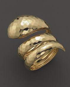 "Roberto Coin 18K Gold ""Snake Martellato"" Ring"
