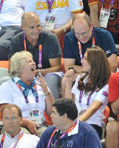 Chatting with Prince Albert of Monaco. Olympics Day 13 - Synchronised Swimming