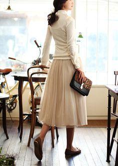 tulle skirt... <3 - brown flats, white long sleeve high neck blouse, cream off white full knee length waist high tulle skirt