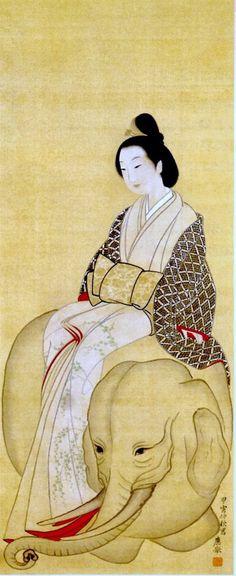 Woman Sitting On An Elephant's Back. Maruyama, Ôkyo (1733-1795).