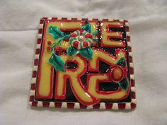 Mary Englebreit Christmas  FRIEND  large square pin. etsy shop: VintageAngeline