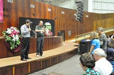 Blessing being done on Craig & Jan Hill by Jorge Nishimura through Translator.  Conference held at Sumara, Brazil.