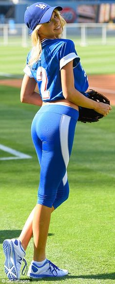 She's a cheeky one: The rising star happily posed for cameras in her skintight leggings...