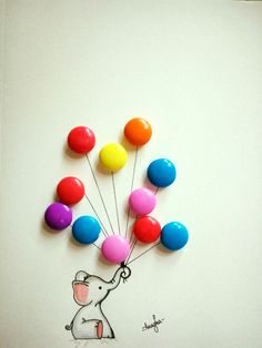 Cute elephant with balloons Photography Ideas At Home, Conceptual Photography, Creative Photography, Button Art, Button Crafts, Creative Illustration, Cute Illustration, Art Drawings Sketches, Easy Drawings