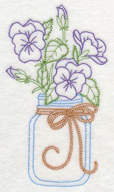 Blooming Violas in Mason Jar (Vintage) design (L9385) from www.Emblibrary.com