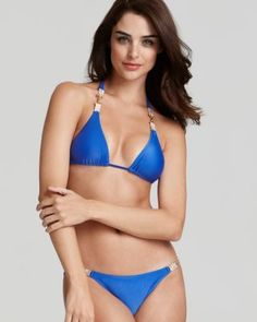 Pique animal instincts with this triangle bikini from ViX, boasting printed trims. In a flirty cut and bold hue, it hints at your wild side. Triangle Top, Triangle Bikini, Blue Bikini, Swimsuits, Swimwear, Most Beautiful Women, Sexy Lingerie, String Bikinis, Prada