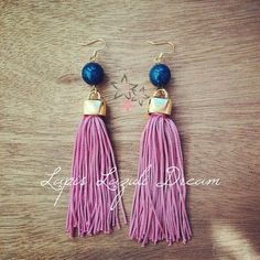 Items similar to Lapis lazuli precious gemstones, Fuchsia tassel, Gold plated brass, Handmade dangle earrings on Etsy Earrings Handmade, Handmade Jewelry, Unique Christmas Gifts, Gem S, Lapis Lazuli, Tassel Necklace, Dangle Earrings, Tassels, Jewelry Accessories