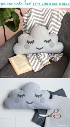 Make your own hand sewn felt cloud diy pillow! ikea kallax cushion hack turn your shelf into a bench with an easy diy no sew cushion Cute Sewing Projects, Sewing Tutorials, Sewing Crafts, Cloud Cushion, Cloud Pillow, Felt Pillow, Baby Pillows, Kids Pillows, Baby Boy Room Decor