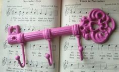 Shabby Chic Pink Cast Iron Key Hook/Hanger by tania