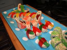 Use Twizzlers in the middle. I'm sure the kids would eat this sushi!