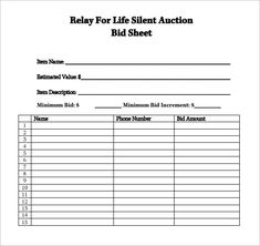 Silent+Auction+Bid+Sheet+Template+10+Free+Samples+Examples ...