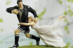 Some men just need tackling #wedding #weddingcake