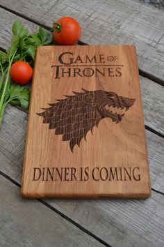 Dinner Is Coming Cutting Board Game of Thrones Kitchen Decor Git for Dad Wooden Cutting Board Cookware Personalized Gift Gift for Him (26.80 USD) by Woodencook