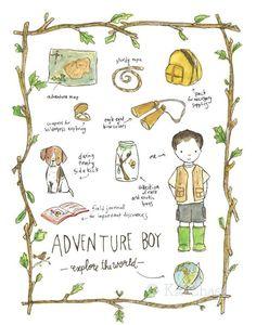 Children's Art - Adventure Boy (B) 11x14 - Archival Art Print $28 Etsy
