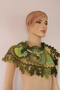 Arizona Dreams / Freeform Crochet   Scarf - Collar  / Fiber Art / Holiday Accessories