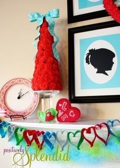 Valentine Mantel   Positively Splendid {Crafts, Sewing, Recipes and Home Decor}