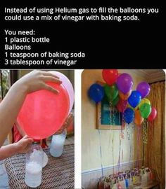 Use Vinegar And Baking Soda To Make Floating Balloons balloons diy diy ideas party decor easy diy how to party ideas interesting party decorations tips life hacks life hack good to know: