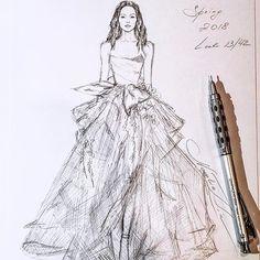 Unfinished #Marchesa #Spring #2018 #handdrawn #pencil #sketch #tulle #gown #sketching #illustration #art #newyork #rtw #worldofartists #luxury #stylish #dress #платье #рисунок #miniature #portrait #event #evening #wedding #prom #nataliazorinliu #pentel #followme #fashionista #instafashion