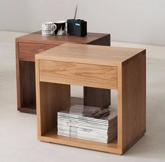 Our latest bedside table design - the Cube Table! Available in many timbers: We have just launched our latest design! A stylish, modern bedside table with a useful storage drawer. Available in a range of hardwoods. Modern Bedside Table, Bedside Table Design, Bedside Tables, Timber Furniture, Home Furniture, Furniture Design, System Furniture, Trendy Furniture, Furniture Removal
