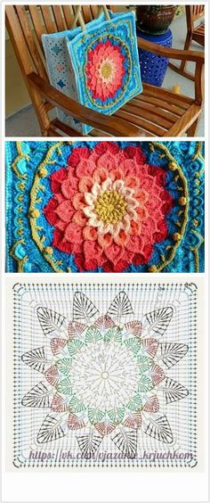 How to Crochet a Solid Granny Square : The Ultimate Granny Square Diagrams Coll. How to Crochet a Solid Granny Square : The Ultimate Granny Square Diagrams Collection ⋆ Crochet Sac Granny Square, Motifs Granny Square, Sunburst Granny Square, Granny Squares, Square Blanket, Motif Mandala Crochet, Crochet Motifs, Crochet Stitches, Crochet Patterns