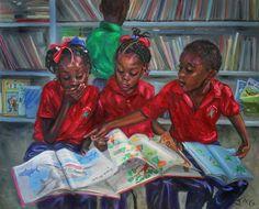 Library by Jonathan Guy-Gladding JAG Black Love Art, Black Girl Art, Art Girl, Black Art Painting, Black Artwork, Jamaican Art, Library Art, Black Art Pictures, Caribbean Art