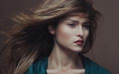 女性、肖像画、唇、髪