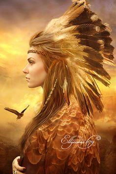 Native American girl - Totem Spirit Eagle