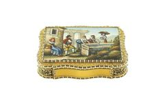 A Swiss 18k gold and micromosaic snuff box