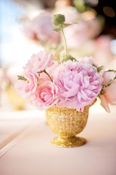 Peonies in glitter dipped vases | Wedding Reception Centerpieces