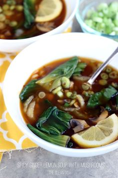 Spicy Ginger Lemon Soup with Mushrooms (vegan, grain free, gluten free)
