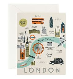 Rifle Paper Co. London Map gift cards available at Northlight Homestore