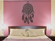 Wall Decal Dream Catcher Web Plumage Charm Bedroom Art Vinyl Stickers (ed130)