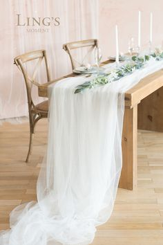 Ling's moment inch Extra Long Tulle Table Runner for Wedding Reception Table Sweetheart Table Party Bridal Shower Decorations (Shimmer White, Reception Table Decorations, Wedding Reception Tables, Wedding Chairs, Wedding Decorations, Wedding Table Runners, Lace Wedding Centerpieces, Rustic Bridal Shower Decorations, Mascarade Party Decorations, Wedding Top Table