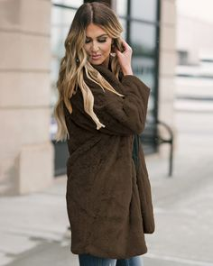 Coffee Solid Pocketed Pockets Open Front Full Sleeve Regular Faux Fur Coat Winter In Coats For Women, Clothes For Women, Oversized Coat, Winter Looks, Long A Line, Winter Coat, Casual Wear, Faux Fur, Womens Fashion